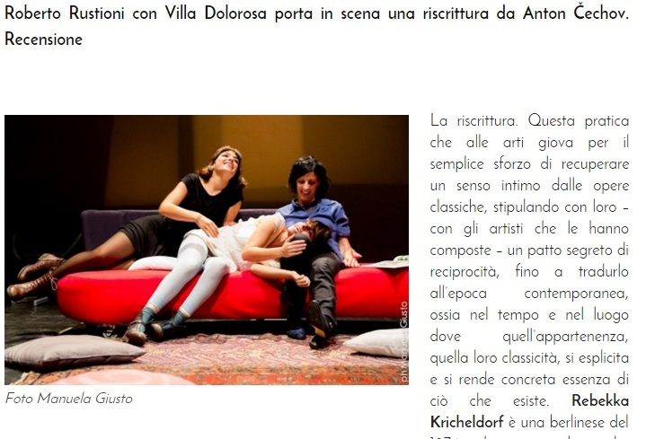 """Villa Dolorosa"" by Rebekka Kricheldorf - review published by Teatro e Critica"