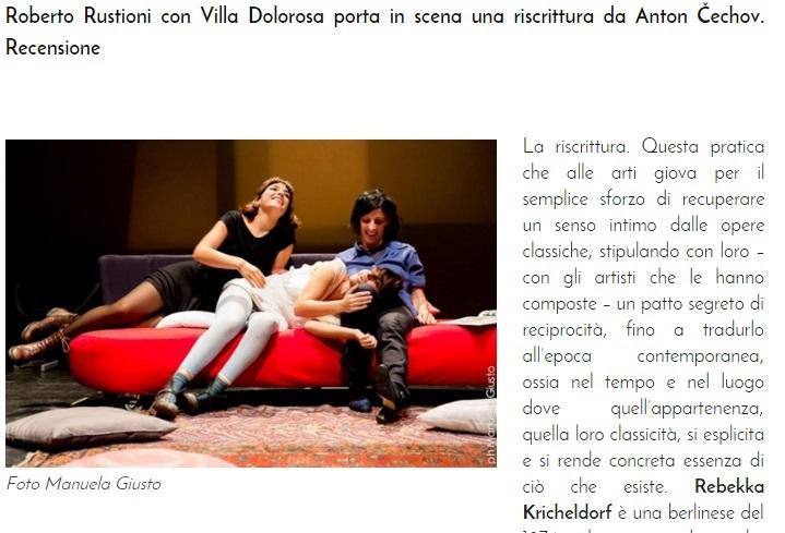"""Villa Dolorosa"" by Rebekka Kricheldorf - review published by Teatro e Critica"
