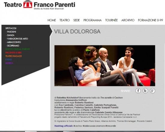 """Villa Dolorosa"" by Rebekka Kricheldorf at Teatro Franco Parenti (Milan)"